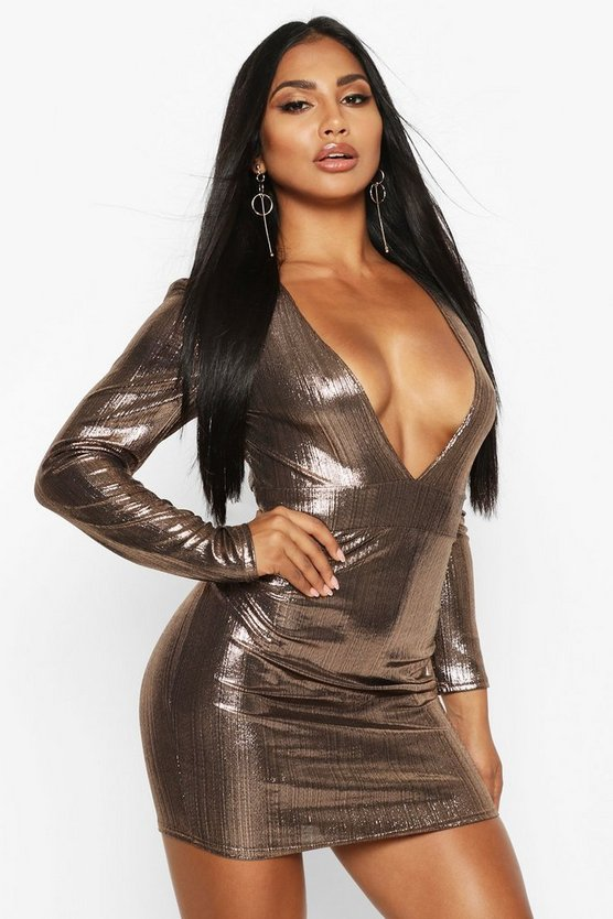 Bronze Metallic Puff Sleeve Plunge Mini Dress