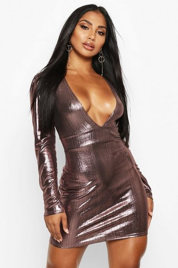 Womens Rose Metallic Puff Sleeve Plunge Mini Dress