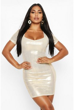Womens Gold Metallic Sweetheart Neck Mini Dress