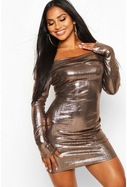 Bronze Metallic Bardot Mini Dress