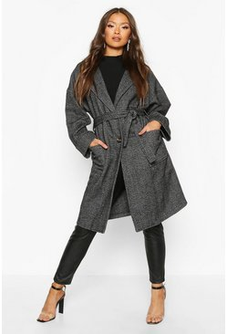 Grey Herringbone Belted Wool Look Coat