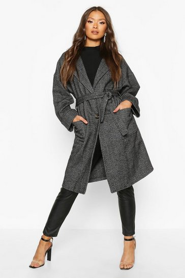 Womens Grey Herringbone Belted Wool Look Coat