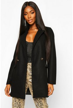 Black Longline Wool Look Blazer Coat