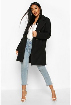 Womens Black Double Breasted Back Detail Wool Look Coat