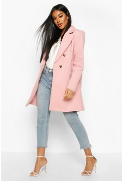 Womens Dusky pink Double Breasted Back Detail Wool Look Coat