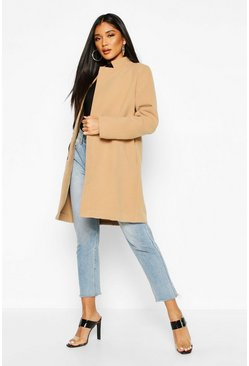 Womens Camel Contrast Zip Wool Look Coat