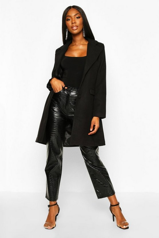 Black Tailored Self Fabric Button Wool Look Coat