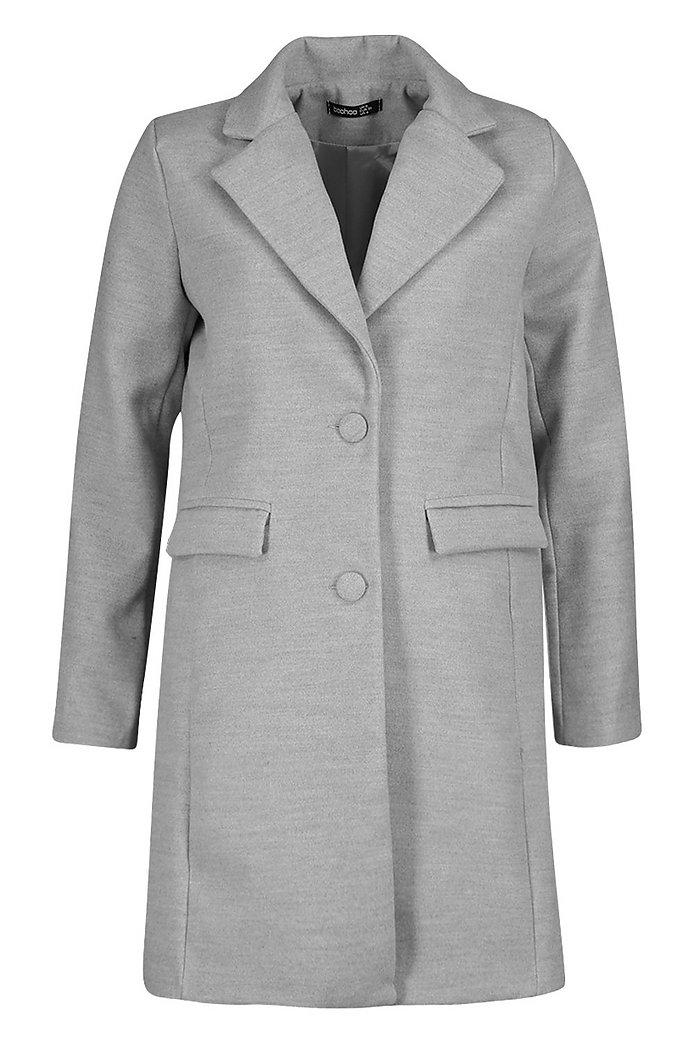 Eng anliegender Mantel in Wolloptik mit Stoffknöpfen | Boohoo