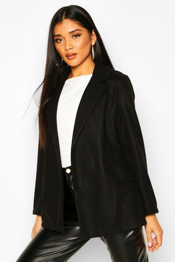 Black Wool Look Blazer Coat