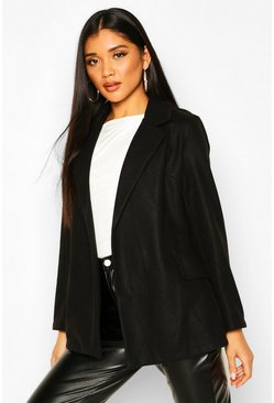 Womens Black Wool Look Blazer Coat