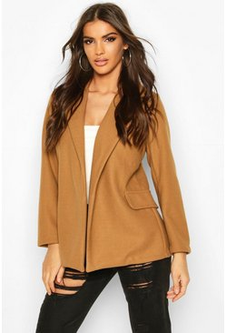 Camel Wool Look Blazer Coat