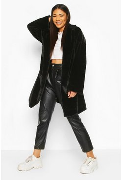 Womens Black Faux Fur Belted Robe Coat