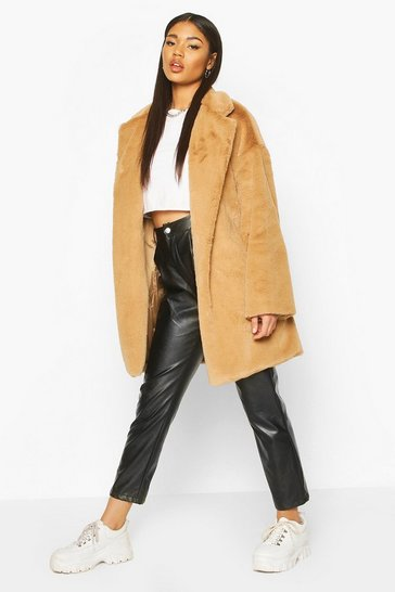 Womens Camel Faux Fur Belted Robe Coat