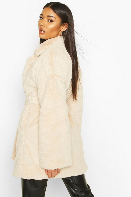 Faux Fur Belted Robe Coat
