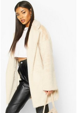 Womens Cream Faux Fur Belted Robe Coat