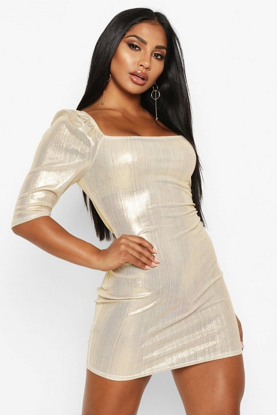 Gold Metallic Puff Sleeve Mini Dress