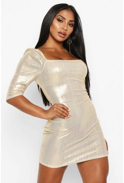 Womens Gold Metallic Puff Sleeve Mini Dress