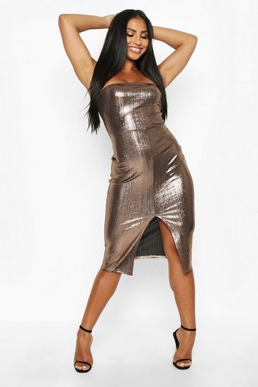 Womens Bronze Metallic Strappy Front Split Midaxi Dress