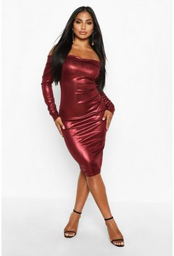 Womens Wine Metallic Off The Shoulder Midi Dress