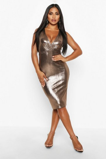 Womens Bronze Metallic Wrap Midi Dress