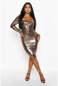 Bronze Metallic Square Neck Midi Dress