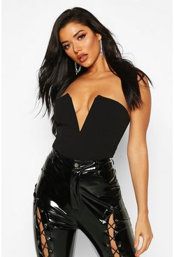 Womens Black Crepe Plunge Neck Bandeau Bodysuit