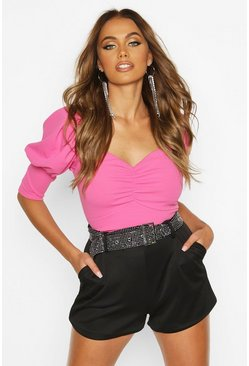 Womens Hot pink Crepe Sweetheart Neck Puff Sleeve Crop Top
