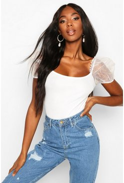 White Organza Sleeve Scoop Back Bodysuit
