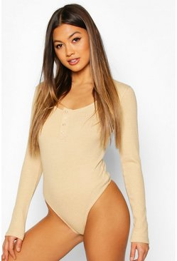 Womens Stone Heavy Rib Popper Long Sleeve Bodysuit