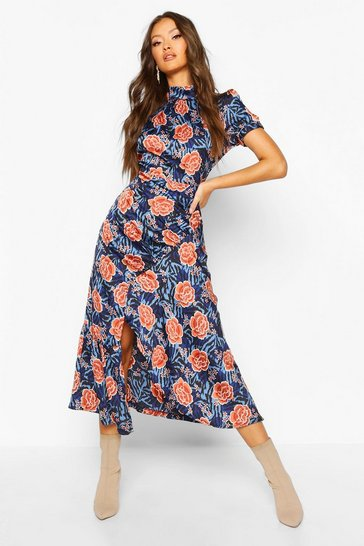 Womens Blue Rose Mixed Print High Neck Ruched Midaxi Dress