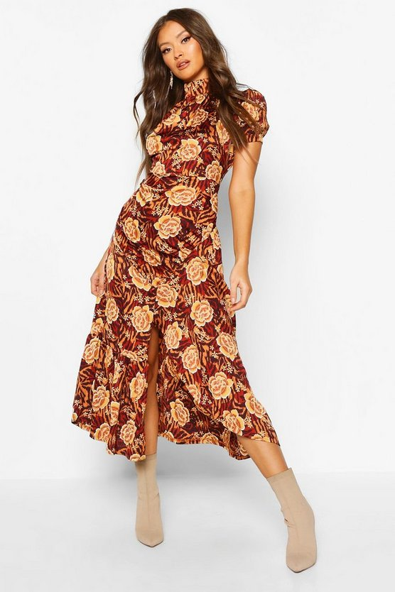 Brown Rose Mixed Print High Neck Ruched Midaxi Dress