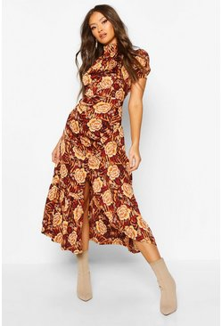 Womens Brown Rose Mixed Print High Neck Ruched Midaxi Dress