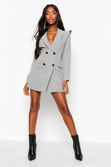 Womens Black Double Breasted Spot Puff Shoulder Blazer Dress