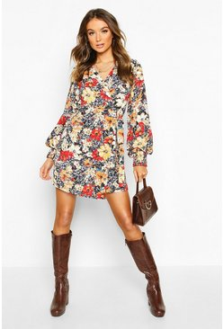 Black Floral Print Shirred Cuff Wrap Tea Dress