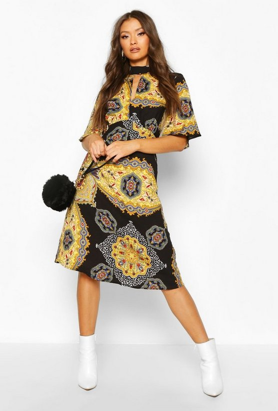 Womens Black High Neck Paisley Print Midi Dress
