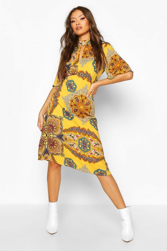 Mustard High Neck Paisley Print Midi Dress