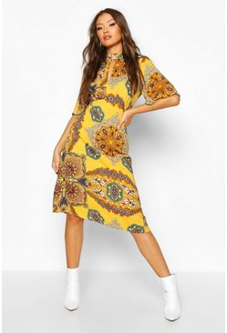 Dam Mustard High Neck Paisley Print Midi Dress