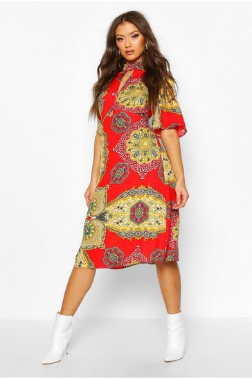 Red High Neck Paisley Print Midi Dress