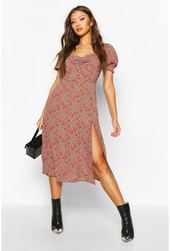 Womens Brown Floral Geo Print Sweetheart Neck Midi Dress