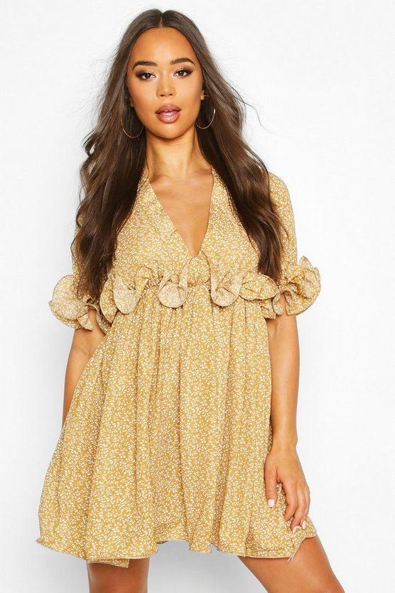 Womens Mustard Floral Pleated Plunge Neck Skater Dress