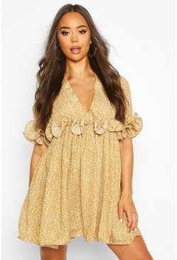 Dam Mustard Floral Pleated Plunge Neck Skater Dress