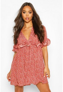 Womens Rust Floral Pleated Plunge Neck Skater Dress