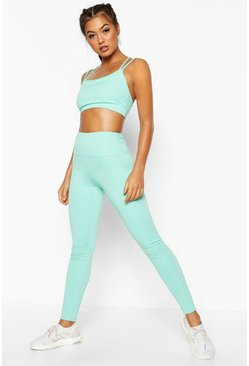 Womens Blue Fit Seamless High Waisted Leggings