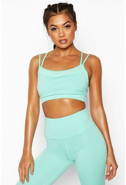Womens Blue Fit Seamless Strappy Back Sports Bra