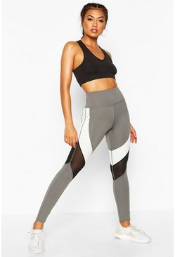 Womens Grey Fit Monochrome Sculpt Gym Leggings