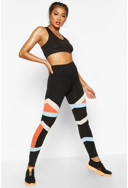 Black Fit Colour Block Gym Leggings