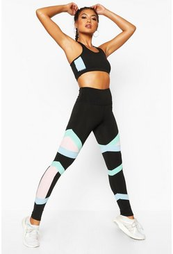 Womens Black Fit Colour Block Gym Leggings