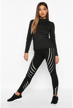 Womens Black Fit Iridescent Tape Running Leggings