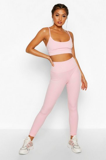 Womens Pink Fit Seamless High Waisted Leggings