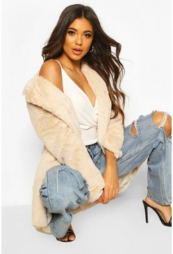 Sand Luxe Faux Fur Coat